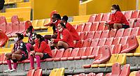 BOGOTA - COLOMBIA, 13-12-2020: Independiente Santa Fe y America de Cali durante partido de Vuelta de la Final por la Liga Femenina BetPlay DIMAYOR 2020 jugado en el estadio Nemesio Camacho El Campin en la ciudad de Bogota. / Independiente Santa Fe and America de Cali during a match of the Finals second Leg for the Women's League BetPlay DIMAYOR 2020 played at the Nemesio Camacho El Campin stadium in Bogota city. / Photo: VizzorImage / Luis Ramirez / Staff.