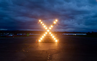 X Airport Runway Lights at Night, Arlington Fly-In 2016, WA, USA