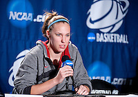 SPOKANE, WA - MARCH 25, 2011: Kayla Pedersen at the Stanford Women's Basketball, NCAA West Regionals press conference at Spokane Arena on March 25, 2011.
