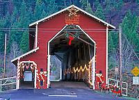 Office Bridge with Christmas lights. Westfir, Oregon