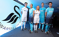 Pictured: Young players model the new kit Friday 03 June 2016<br />