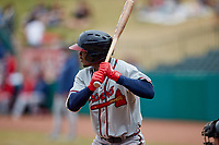 Kevin Josephina (2) of the Rome Braves at bat against the Greensboro Grasshoppers at First National Bank Field on May 16, 2021 in Greensboro, North Carolina. (Brian Westerholt/Four Seam Images)
