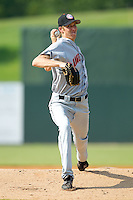 Starting pitcher Graham Hicks #34 of the Hagerstown Suns in action against the Kannapolis Intimidators at Fieldcrest Cannon Stadium August 8, 2010, in Kannapolis, North Carolina.  Photo by Brian Westerholt / Four Seam Images
