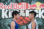 Huang and Hsueh pose for a portrait ahead the Red Bull King of the Rock Taiwan National Finals on July 18, 2015 at the Kaohsiung University basketball court in Kaohsiung, south Taiwan. Photo by Victor Fraile / Power Sport Images