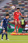 Jameel Al Yahmadi of Oman (R) competes for the ball with Endo Wataru of Japan (L) during the AFC Asian Cup UAE 2019 Group F match between Oman (OMA) and Japan (JPN) at Zayed Sports City Stadium on 13 January 2019 in Abu Dhabi, United Arab Emirates. Photo by Marcio Rodrigo Machado / Power Sport Images