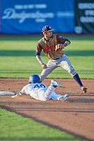 Antonio Pinero (3) of the Rocky Mountain Vibes prepares to catch a throw as Jimmy Titus (40) slides into second base during a game against the Ogden Raptors at Lindquist Field on July 6, 2019 in Ogden, Utah. The Vibes defeated the Raptors 7-2. (Stephen Smith/Four Seam Images)