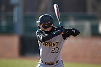 Matt Woods (23) of the Bryant Bulldogs at bat against the High Point Panthers at Williard Stadium on February 21, 2021 in  Winston-Salem, North Carolina. The Panthers defeated the Bulldogs 3-2. (Brian Westerholt/Four Seam Images)