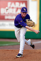 LSU Tigers pitcher Ryan Eades #37 warms up before the NCAA baseball game against the Mississippi State Bulldogs on March 17, 2012 at Alex Box Stadium in Baton Rouge, Louisiana. The 10th-ranked LSU Tigers beat #21 Mississippi State, 4-3. (Andrew Woolley / Four Seam Images)
