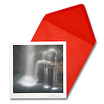 """Waterfall<br /> 6.5"""" x 6.5"""" Exceptional, framing-quality square card with color-coordinated envelope.<br /> <br /> Embossed with signature, printed on watercolor paper. Watermark does not appear on product."""