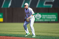 Charlotte 49ers second baseman Brett Netzer (9) on defense against the Xavier Musketeers at Hayes Stadium on March 3, 2017 in Charlotte, North Carolina.  The 49ers defeated the Musketeers 2-1.  (Brian Westerholt/Four Seam Images)