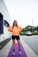 ORLANDO, FL - SEPTEMBER 11: Ally Haran #26 of the Orlando Pride arrives at the game before a game between Racing Louisville FC and Orlando Pride at Exploria Stadium on September 11, 2021 in Orlando, Florida.
