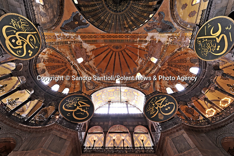 Pictured: Hagia Sophia Holy Grand Mosque in Istanbul, Turkey. <br /> <br /> A series of photographs of ceilings from historic buildings show off kaleidoscopic patterns.  Italian photographer Sandro Santioli captured the mesmerising and intricately decorated interiors of some of Istanbul's grandest places of worship.<br /> <br /> The symmetry of the designs adorning ceilings in Topkapı Palace, Sultan Ahmed Mosque and Hagia Sophia Grand Mosque create kaleidoscopic patterns.  As well as Istanbul, Turkey, Mr Santioli photographed ceilings at the Amber Fortress in Jaipur, India.  SEE OUR COPY FOR DETAILS. <br /> <br /> Please byline: Sandro Santioli/Solent News<br /> <br /> © Sandro Santioli/Solent News & Photo Agency<br /> UK +44 (0) 2380 458800