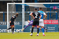 1st May 2021; Weston Homes Stadium, Peterborough, Cambridgeshire, England; English Football League One Football, Peterborough United versus Lincoln City; Jorge Grant of Lincoln City score's his team's second goal from a penalty kick after 47 minutes (0-2)