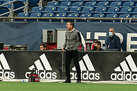 FOXBOROUGH, UNITED STATES - MAY 28: Darren Powell head coach of Fort Lauderdale CF during a game between Fort Lauderdale CF and New England Revolution II at Gillette Stadium on May 28, 2021 in Foxborough, Massachusetts.