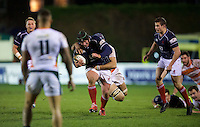 Geoff Cross of London Scottish Football Club drives through the tackle during the Greene King IPA Championship match between London Scottish Football Club and Ealing Trailfinders at Richmond Athletic Ground, Richmond, United Kingdom on 26 December 2015. Photo by Alan  Stanford / PRiME Media Images