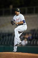 Salt River Rafters pitcher Jeff Thompson (49), of the Detroit Tigers organization, during a game against the Scottsdale Scorpions on October 20, 2016 at Scottsdale Stadium in Scottsdale, Arizona.  Scottsdale defeated Salt River 4-1.  (Mike Janes/Four Seam Images)