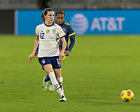 ORLANDO, FL - JANUARY 22: Tierna Davidson #12 passes the ball during a game between Colombia and USWNT at Exploria stadium on January 22, 2021 in Orlando, Florida.