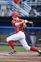Batavia Muckdogs second baseman Brian Anderson (8) at bat during a game against the State College Spikes on July 3, 2014 at Dwyer Stadium in Batavia, New York.  State College defeated Batavia 7-1.  (Mike Janes/Four Seam Images)