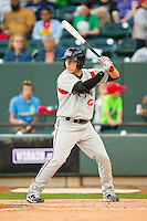 Jake Lowery (7) of the Carolina Mudcats at bat against the Winston-Salem Dash at BB&T Ballpark on April 13, 2013 in Winston-Salem, North Carolina.  The Dash defeated the Mudcats 4-1.  (Brian Westerholt/Four Seam Images)