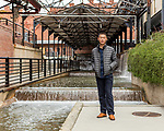 """April 7, 2017. Durham, North Carolina.<br /> <br /> Filmmaker Wang Jiuliang, photographed in downtown Durham during the Full Frame Film Festival where his film """"Plastic China"""" will be screened. <br /> <br /> The film follows the path of two Chinese families involved in the world wide plastic recycling industry and environmental and cultures implications of the industry. <br /> <br /> Jeremy M. Lange for The New York TImes"""