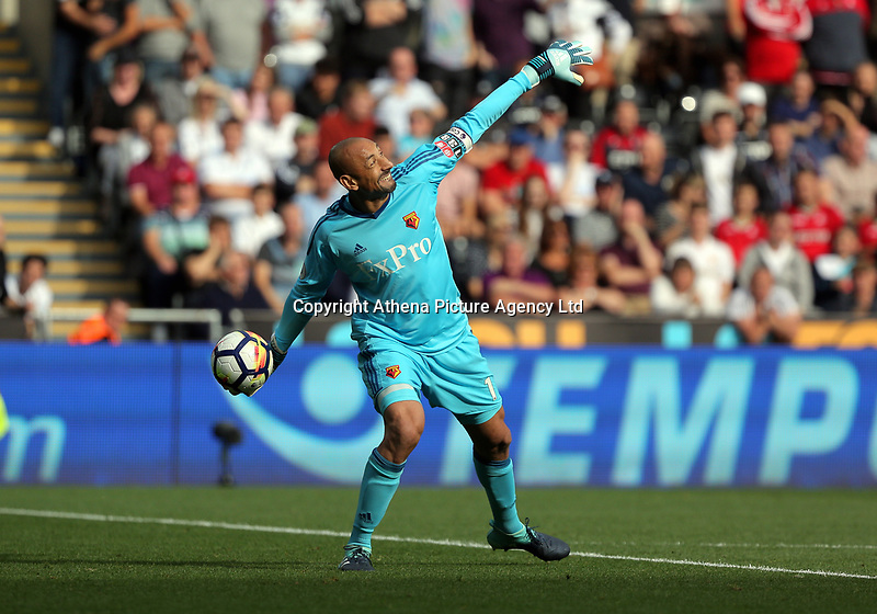 Heurelho Gomes of Watford throws the ball in during the Premier League match between Swansea City and Watford at The Liberty Stadium, Swansea, Wales, UK. Saturday 23 September 2017
