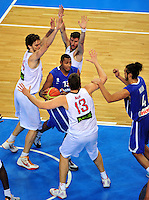 French national basketball team player Diaw Boris (13), Pau Gasol, MArc Gasol and Fernandez Rudy,  during final Eurobasket 2011 game between Spain and France in Kaunas, Lithuania, Sunday, September 18, 2011. (photo: Pedja Milosavljevic)