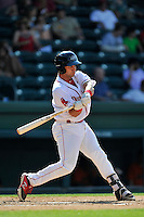 Designated hitter Tyler Spoon (15) of the Greenville Drive bats in a game against the Augusta GreenJackets on Sunday, June 12, 2016, at Fluor Field at the West End in Greenville, South Carolina. Greenville won, 11-8. (Tom Priddy/Four Seam Images)