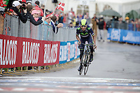 Nairo Quintana (COL/Movistar) takes the stage and the Maglia Rossa after a controversial move descending the (snowed in / neutralised?) Stelvio earlier in the stage<br /> <br /> 2014 Giro d'Italia <br /> stage 16: Ponte di Legno - Val Martello (139km)