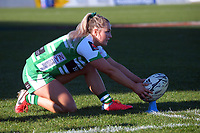 Manawatu's Carys Dallinger lines up a conversion attempt during the Farah Palmer Cup women's rugby match between Manawatu Cyclones and Taranaki Whio at CET Stadium in Palmerston North, New Zealand on Saturday, 24 July 2021 Photo: Dave Lintott / lintottphoto.co.nz