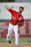 Donn Roach #26 of the Inland Empire 66'ers pitches against the Modest Nuts at San Manuel Stadium on April 16, 2012 in San Bernardino,California. Inland Empire defeated Modesto 4-3.(Larry Goren/Four Seam Images)