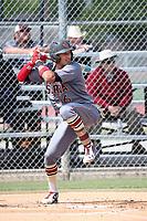 Royce Lewis (6) of the JSerra Catholic High School Lions bats against the St. John Bosco High School Braves at St. John Bosco H.S. on May 9, 2017 in Bellflower, California. (Larry Goren/Four Seam Images)