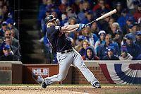 Cleveland Indians Mike Napoli (26) hits a single in the seventh inning during Game 5 of the Major League Baseball World Series against the Chicago Cubs on October 30, 2016 at Wrigley Field in Chicago, Illinois.  (Mike Janes/Four Seam Images)