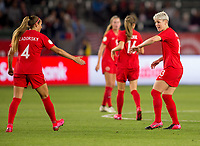 CARSON, CA - FEBRUARY 07: Shelina Zadorsky #4 and Sophie Schmidt #13 of Canada congratulate each other during a game between Canada and Costa Rica at Dignity Health Sports Complex on February 07, 2020 in Carson, California.