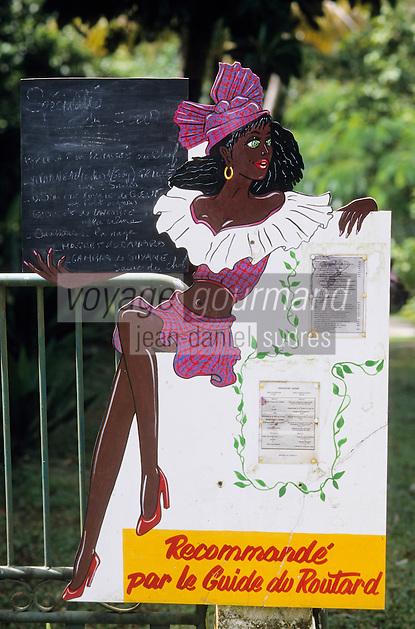 """Europe/France/DOM/Antilles/Petites Antilles/Guadeloupe/Env de Bouillante : Porte-menu du restaurant """"Couleur Caraïbes"""""""