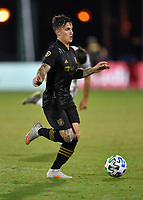 LAKE BUENA VISTA, FL - JULY 18: Brian Rodríguez #17 of LAFC runs with the ball during a game between Los Angeles Galaxy and Los Angeles FC at ESPN Wide World of Sports on July 18, 2020 in Lake Buena Vista, Florida.