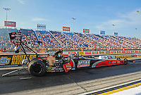 Jun. 29, 2012; Joliet, IL, USA: NHRA top fuel dragster driver David Grubnic during qualifying for the Route 66 Nationals at Route 66 Raceway. Mandatory Credit: Mark J. Rebilas-