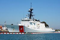 The United States Coast Guard Cutter Bertholf docked at its home port in Alameda, California. The Bertholf was launched on September 29, 2006 at the Ingalls Shipyard in Pascagoula, Mississippi and was christened on November 11, 2006. It is the first of the Legend class maritime security cutters to enter the Coast Guard fleet. Photographed 7/23/08