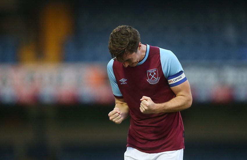 West Ham United's Conor Coventry celebrates scoring his side's third goal <br /> <br /> Photographer Rob Newell/CameraSport<br /> <br /> EFL Trophy Southern Section Group A - Southend United v West Ham United U21 - Tuesday 8th September 2020 - Roots Hall - Southend-on-Sea<br />  <br /> World Copyright © 2020 CameraSport. All rights reserved. 43 Linden Ave. Countesthorpe. Leicester. England. LE8 5PG - Tel: +44 (0) 116 277 4147 - admin@camerasport.com - www.camerasport.com