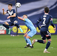 6th June 2021; AAMI Park, Melbourne, Victoria, Australia; A League Football, Melbourne Victory versus Melbourne City; Lleyton Brooks of the Victory heads the ball towards goal late in the game