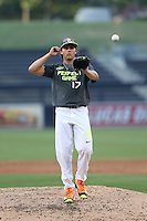 Karl Kauffmann (17) of the West team pitches during the 2015 Perfect Game All-American Classic at Petco Park on August 16, 2015 in San Diego, California. The East squad defeated the West, 3-1. (Larry Goren/Four Seam Images)