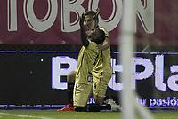 RIONEGRO -COLOMBIA, 15-11-2020: Jader Obrian de  Aguilas Doradas Rionegro celebra después de anotar el segundo gol de su equipo durante el partido entre Aguilas Doradas Rionegro y Deportivo Cali por la fecha 20 de la Liga BetPlay DIMAYOR I 2020 jugado en el estadio Estadio Alberto Grisales de Rionegro. / Jader Obrian of Aguilas Doradas Rionegro celebrates after scoring the second goal of his team during match between Aguilas Doradas Rionegro  and Deportivo Cali for the date 20 BetPlay DIMAYOR League I 2020 played at Alberto Grisales stadium in Rionegro. Photo: VizzorImage/ Juan Augusto Cardona / Contribuidor