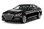 2017 Genesis G80 3.8-AWD 4 Door Sedan Angular Front stock photos of front three quarter view