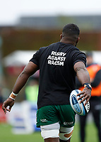 4th October 2020; Twickenham Stoop, London, England; Gallagher Premiership Rugby, London Irish versus Bristol Bears; Albert Tuisue of London Irish wearing Rugby Against Racism t-shirt during the warm up