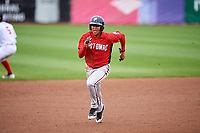 Potomac Nationals center fielder Blake Perkins (22) runs the bases during the first game of a doubleheader against the Salem Red Sox on June 11, 2018 at Haley Toyota Field in Salem, Virginia.  Potomac defeated Salem 9-4.  (Mike Janes/Four Seam Images)