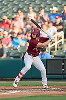 Frisco RoughRiders Steele Walker (2) bats during a game against the San Antonio Missions on June 26, 2021 at Dr. Pepper Ballpark in Frisco, Texas.  (Ken Murphy/Four Seam Images)