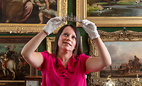 BNPS.co.uk (01202 558833)<br /> Pic: ZacharyCulpin/BNPS<br /> <br /> Pictured: The Victorian diamond tiara.<br /> <br /> An exquisite Victorian diamond tiara has emerged for sale for £20,000.<br /> <br /> The headdress, with circular cut diamonds, has been in a West Country family for several generations, who are now selling it with Lawrences Auctioneers, of Crewkerne, Somerset.<br /> <br /> It is just over 2ins high and comes on a detachable frame so it can be worn as a necklace.<br /> <br /> Tiaras are currently popular on the market as parents are buying them for their daughters to wear at weddings.