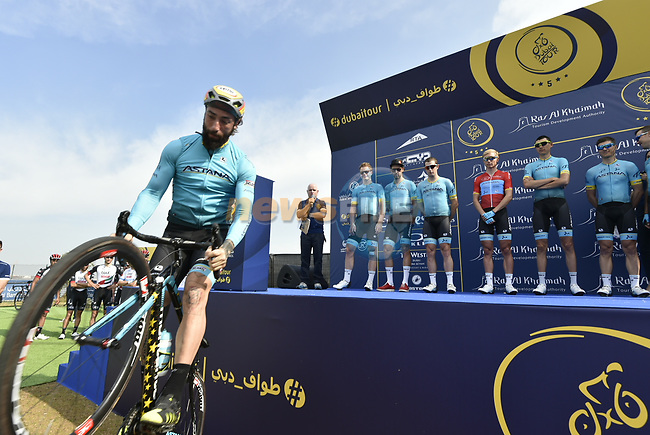 Vittorio Brumotti with Astana Pro Team at sign on before the start of Stage 2 The  Ras Al Khaimah Stage of the Dubai Tour 2018 the Dubai Tour's 5th edition, running 190km from Skydive Dubai to Ras Al Khaimah, Dubai, United Arab Emirates. 7th February 2018.<br /> Picture: LaPresse/Fabio Ferrari | Cyclefile<br /> <br /> <br /> All photos usage must carry mandatory copyright credit (© Cyclefile | LaPresse/Fabio Ferrari)