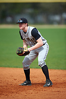 St. Olaf Oles first baseman Ryan Iverson (17) during the first game of a doubleheader against the Union Dutchmen on February 20, 2016 at Lake Myrtle Park in Auburndale, Florida.  Union defeated St. Olaf 7-2.  (Mike Janes/Four Seam Images)