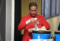 JACKSONVILLE, FL - NOVEMBER 10: Ashlyn Harris #18 of the United States tapes her hands during a game between Costa Rica and USWNT at TIAA Bank Field on November 10, 2019 in Jacksonville, Florida.