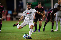 LAKE BUENA VISTA, FL - JULY 27: Diego Rossi #9 of LAFC kicks the ball during a game between Seattle Sounders FC and Los Angeles FC at ESPN Wide World of Sports on July 27, 2020 in Lake Buena Vista, Florida.